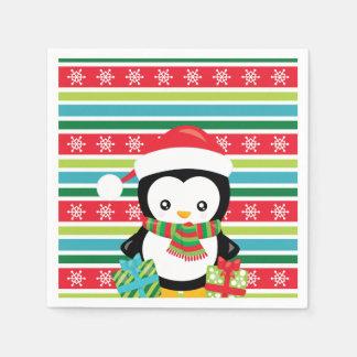 Gift Penguin on striped snowflake background Paper Napkin