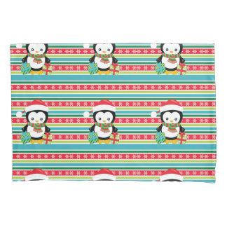 Gift Penguin on striped snowflake background Pillowcase