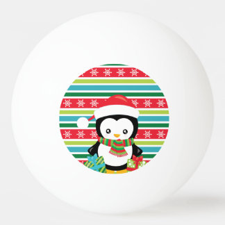 Gift Penguin on striped snowflake background Ping Pong Ball