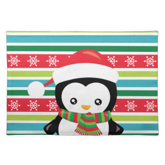 Gift Penguin on striped snowflake background Placemat