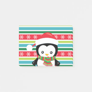 Gift Penguin on striped snowflake background Post-it Notes