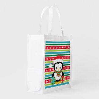 Gift Penguin on striped snowflake background Reusable Grocery Bag