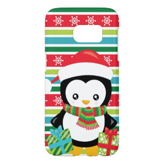 Gift Penguin on striped snowflake background Samsung Galaxy S7 Case