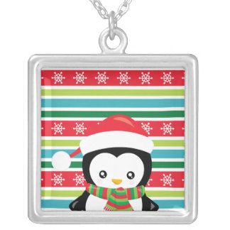 Gift Penguin on striped snowflake background Silver Plated Necklace