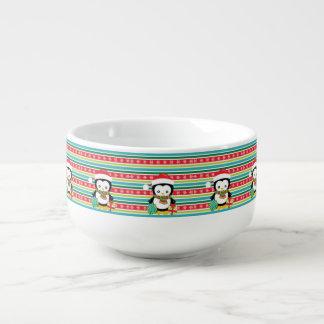 Gift Penguin on striped snowflake background Soup Mug