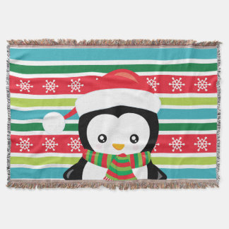 Gift Penguin on striped snowflake background Throw Blanket