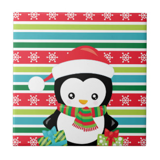 Gift Penguin on striped snowflake background Tile