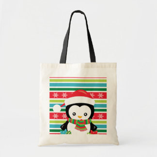 Gift Penguin on striped snowflake background Tote Bag