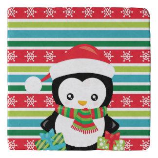 Gift Penguin on striped snowflake background Trivet
