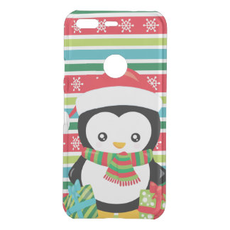 Gift Penguin on striped snowflake background Uncommon Google Pixel Case