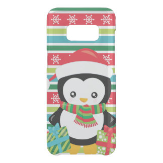 Gift Penguin on striped snowflake background Uncommon Samsung Galaxy S8 Case