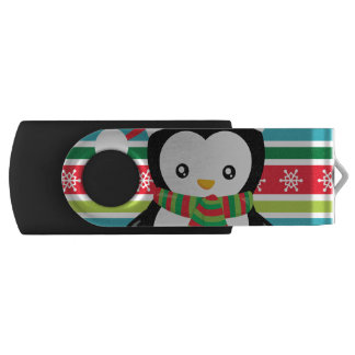 Gift Penguin on striped snowflake background USB Flash Drive