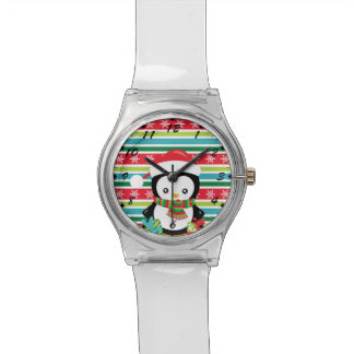 Gift Penguin on striped snowflake background Watch