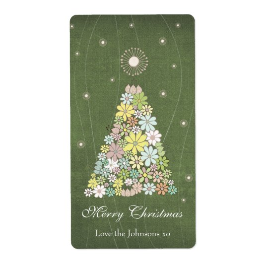 Gift Present Tag Label Flower Christmas Tree Shipping Label