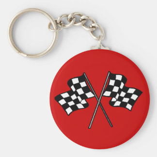Gift ~ Racing Fans Black & White checkered flags Basic Round Button Keychain