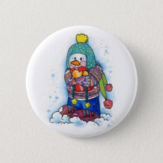 Gift Snowman 2 Inch Round Button