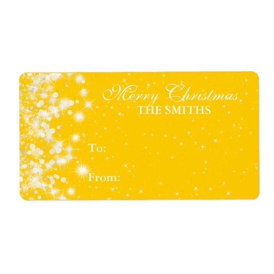 Gift Tag Elegant Winter Sparkle Yellow
