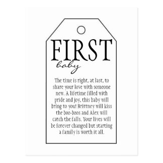 Gift Tag for Wine Bottle - First Baby Postcard