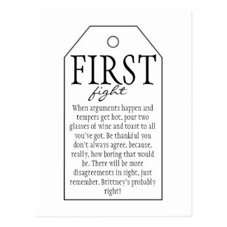 Gift Tag for Wine Bottle - First Fight Postcard