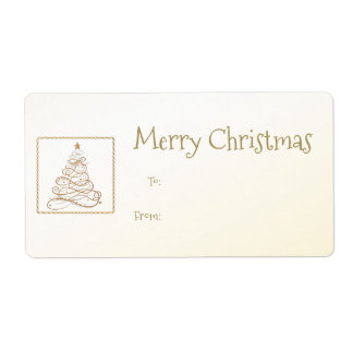 Gift Tag:  Golden Filigree Christmas Tree Shipping Label