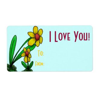 Gift Tag Label Template To/From Two Little Flowers Shipping Label