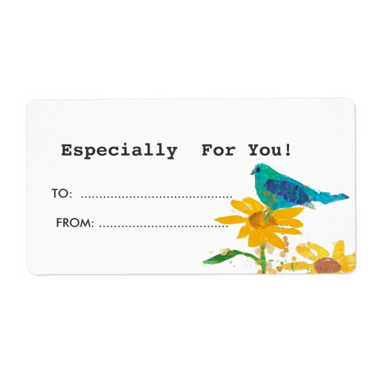 Gift Tag With Blue Bird Shipping Label