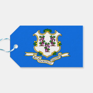 Gift Tag with Flag of Connecticut, USA