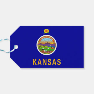 Gift Tag with Flag of Kansas State, USA