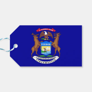 Gift Tag with Flag of Michigan State, USA