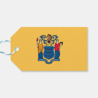 Gift Tag with Flag of New Jersey State, USA