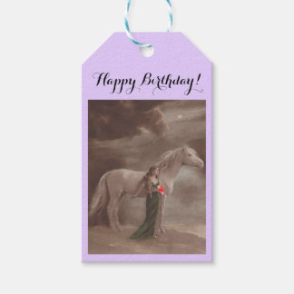 Gift Tags Happy Birthday Dream Girl horse flowers Pack Of Gift Tags