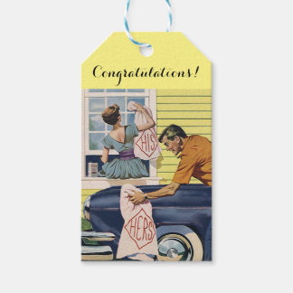 Gift Tags His & Hers retro style Wedding Newlyweds Pack Of Gift Tags