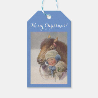 Gift Tags Merry Christmas Sweet antique Girl Pony Pack Of Gift Tags