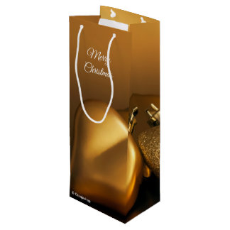 Gift Wine Bag with Golden Hearts for Christmas