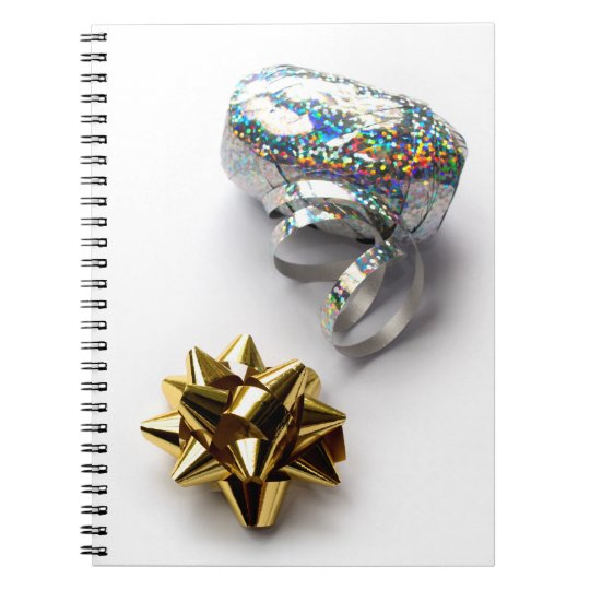 Gift Wrap Shiny Bow and Ribbon Spiral Notebook