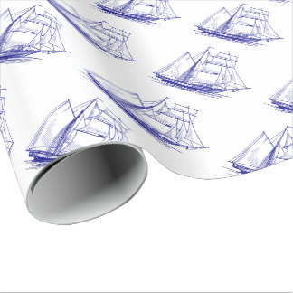 gift wrap Wrapping Paper  Blue sail boat ship