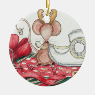 Gift Wrapping Mouse Ornament