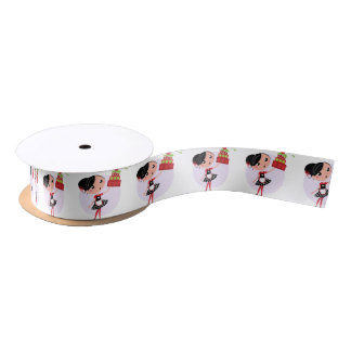 Gift wrapping with Kitchen girl Satin Ribbon
