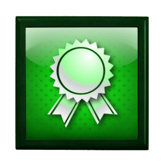 Giftbox green award ribbon or medal gift boxes