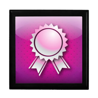 Giftbox pink award ribbon or medal jewelry box