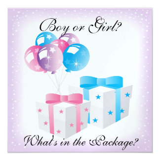 Gifts and Balloons Baby Gender Reveal Party Invit Card