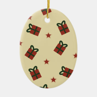 Gifts and stars pattern ceramic ornament