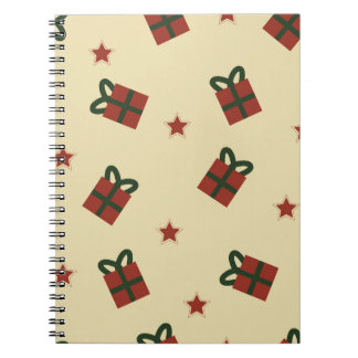 Gifts and stars pattern spiral notebook