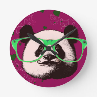 Gifts for Girls Cute Pandas Bears Personalized Round Clock