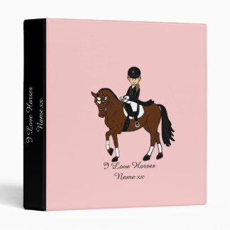 Gifts for girls - I love horses - dressage rider 3 Ring Binders