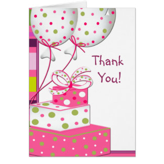 Gifts Green Pink Balloons Thank You Cards