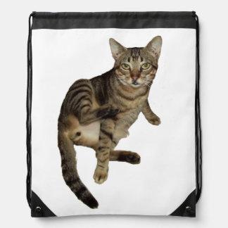Gifts Knapsack Charming Cat Drawstring Bag