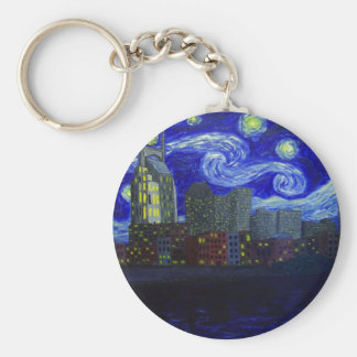 "Gifts: ""Nashville Starry Night"" by Jack Lepper Basic Round Button Keychain"