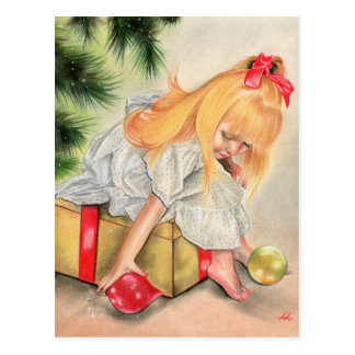 Gifts under the christmas tress postcard