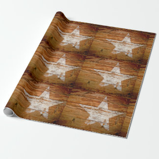 Giftwrap Distressed Wood Grain Painted White Star Wrapping Paper